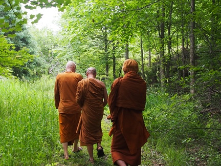 Luang Por Viradhammo takes Luang Por Jundee and Ajahn Sek on a tour of Tisarana's forests