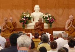 Monastics chant blessings at the ceremony for the upcoming meditation hall