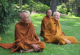 L to R: Luang Por Liem, Luang Por Viradhammo, and Ajahn Sek have a seat at the arboretum in Ottawa