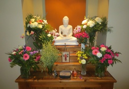 The shrine was well decorated for Luang Por Liem's visit