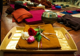 The kathina cloth ' beautifully laid out