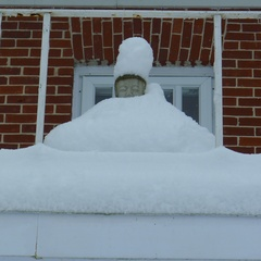 The Buddha with a snowy covering