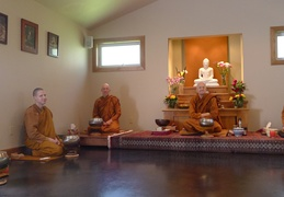 The Sangha assembles before the meal