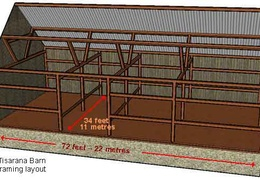 A layout of the barn's frame