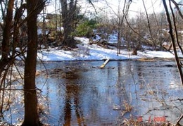 The creek tends to flood in the winter