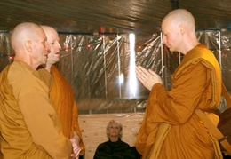 Ajahn Kusalo and Bhante Khemaratana question Samanera Sumangalo to make sure he is fit to enter the Sangha