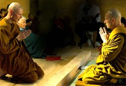 Samanera Sumangalo chants the precepts after Ajahn Kusalo