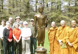 Another group photo next to the standing Buddha