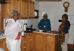 The three sisters take care of things in the kitchen. L to R: Priyani, Anoma, and Harini