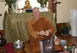 Ajahn Kusalo receives some going away presents