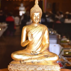 Buddha statue at front door